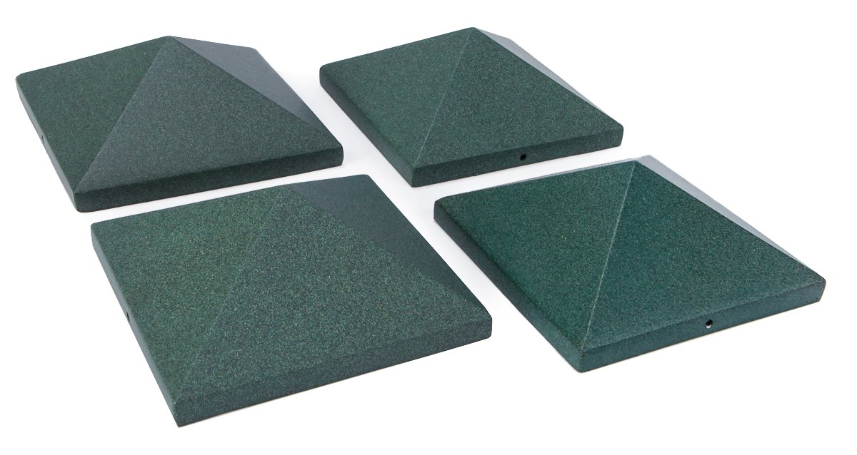 Aluminum Pyramid Post Cap 4x4 (3-1/2'') Green - 4 Pack
