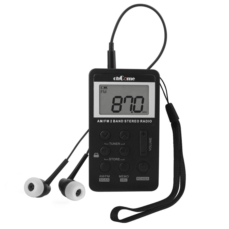 ohCome Pocket Am FM 2 Bandas de Radio estéreo Mini DSP Digital Tuning Receptor con Pantalla LCD Batería Recargable y Auriculares para Caminar (Negro): ...