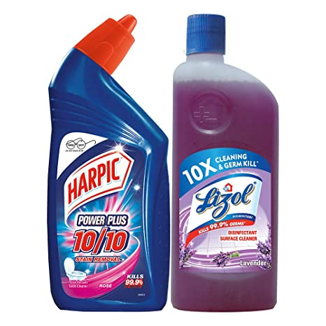 Harpic Cleaning Combo (Harpic - 500 ml (Rose), Lizol - 500 ml (Lavender))