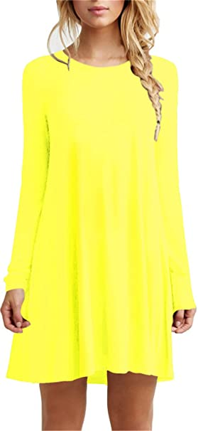 f48fd16c663b Image Unavailable. Image not available for. Color: TOPONSKY Women's Casual  Plain Long Sleeve Simple T-Shirt Loose Swing Dress(Yellow,
