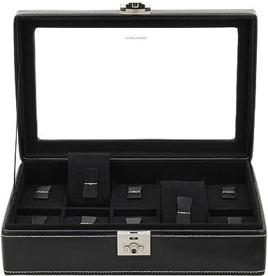 Relojes con Vitrina de Piel auténtica para 10 Relojes Negro Estuche Estuche Box Caja Expositor: Amazon.es: Relojes
