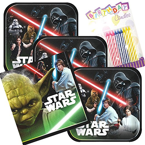 Lobyn Value Pack Star Wars Classic Party Plates and Napkins Serves 16 With Birthday Candles -