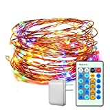 CREATIVE DESIGN Starry String Light, 150 LEDs 49ft Dimmable Copper Wire Light with Remote Control and ETL Certified Power Adapter for Party, Holiday, Christmas, Garden,Decoration(Multicolored)