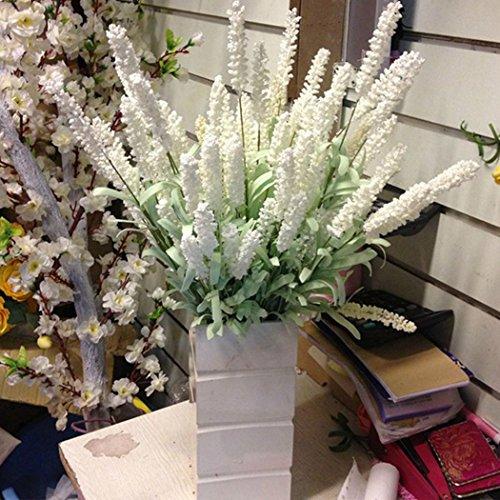 NPLE--Home Decoration Wedding Silk Flowers High Simulation 12 Heads Lavender Bouquet (White)