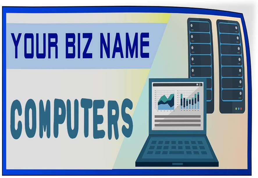 Custom Door Decals Vinyl Stickers Multiple Sizes Business Name Computers White Blue Business Computer Outdoor Luggage /& Bumper Stickers for Cars White 27X18Inches Set of 10