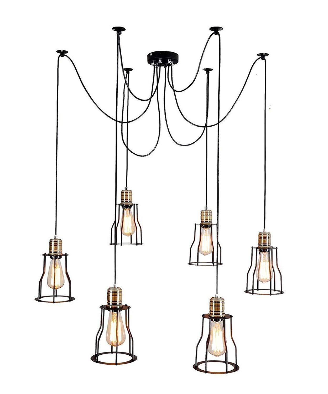 Chandelier Pendant Lights Vintage Ceiling Light Large Hanging Barn Lights with 6 Cage Lights Brass Finish