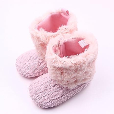Gugutogo Nuevo Baby Crochet/Knit Fleece Boots Zapatos de cuna para nieve de niña pequeña