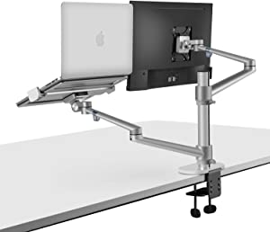 viozon Monitor and Laptop Mount, 2-in-1 Adjustable Dual Monitor Arm Desk Mounts,Single Desk Arm Stand/Holder for 17 to 27 Inch LCD Computer Screens, Extra Tray Fits 12 to 17 inch Laptops (Silver)
