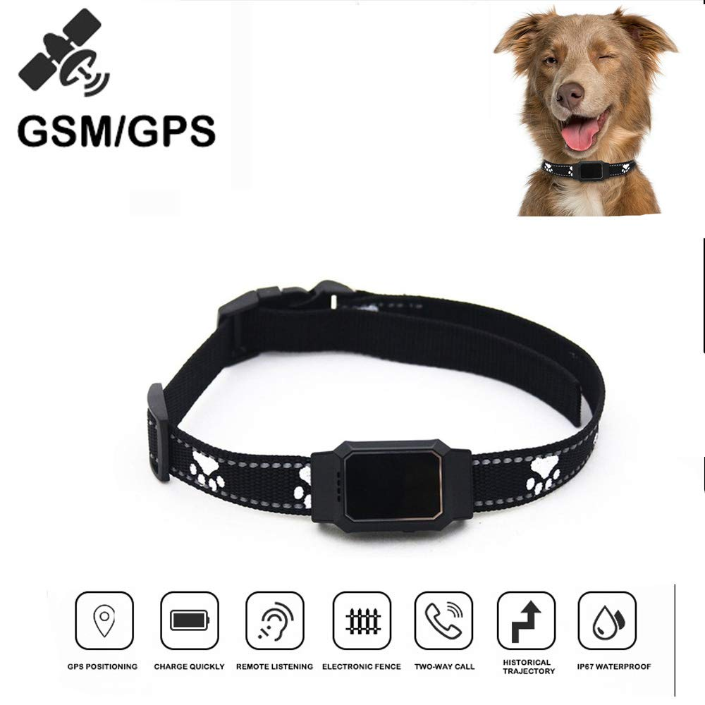 HUAXING Smart Monitor Pets GPS Tracker IP67 Waterproof GPS Collar Tracker Remote Calling Tracker Real Time Locator for Dog Cat Pets,Black