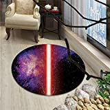 Galaxy Round Area Rug Famous Movie Weapon Fantastic Galaxy War between Enemies Theme Sword with RedOriental Floor and Carpets Black