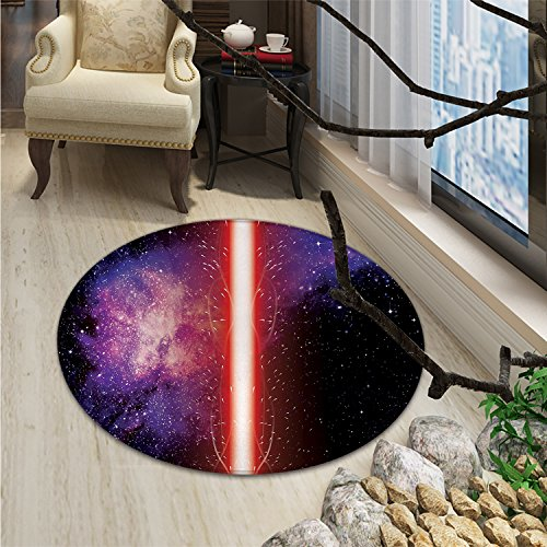Galaxy Round Area Rug Carpet Famous Movie Weapon Fantastic Galaxy War between Enemies Theme Sword with RedOriental Floor and Carpets Black by smallbeefly