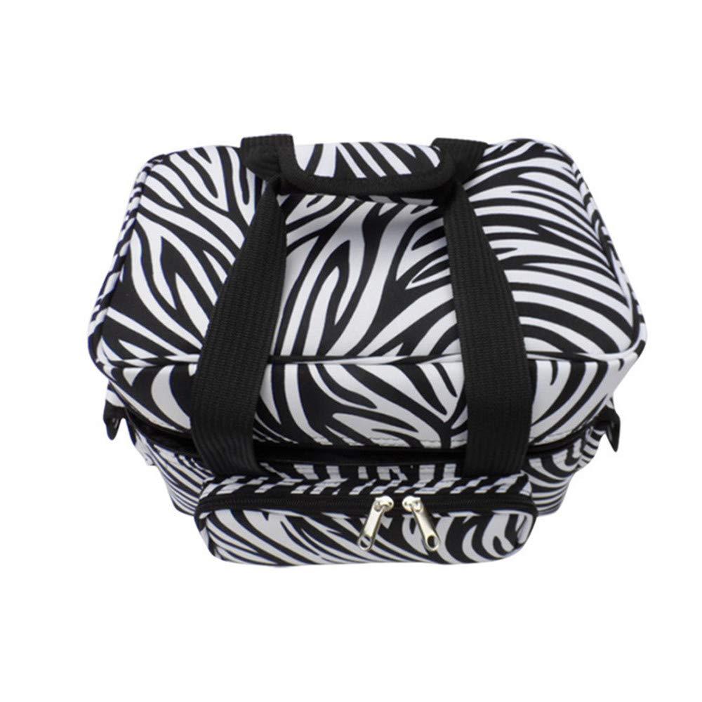 化粧オーガナイザーバッグ ゼブラストライプポータブル化粧品バッグ美容メイクアップと女の子女性旅行とジッパーとトレイで毎日のストレージ 化粧品ケース B07PKSBK5X