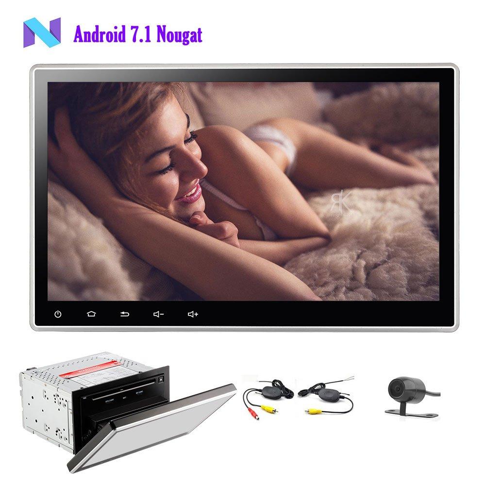 ワイヤレスリアカメラ付きダッシュAutoradioビデオヘッドユニットダブルDIN GPSナビゲーション壁紙を変更SWC Wifiの画面鏡の中の純粋なアンドロイド7.1 OSカーDVDプレーヤー B075XLVMQN