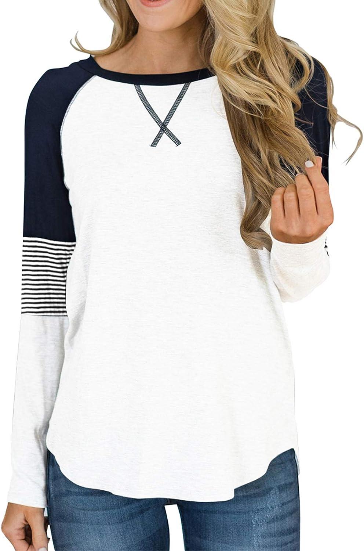 KANGMOON Women Casual Round Neck Colorblock Tops Blouses Polka Dot Shirt Bubble Long Sleeve Pullover Sweatshirt Tunic
