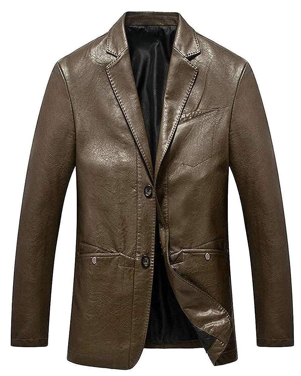 Mens Slim Single Breasted Casual PU Dress Blazer Jacket Suit Coat