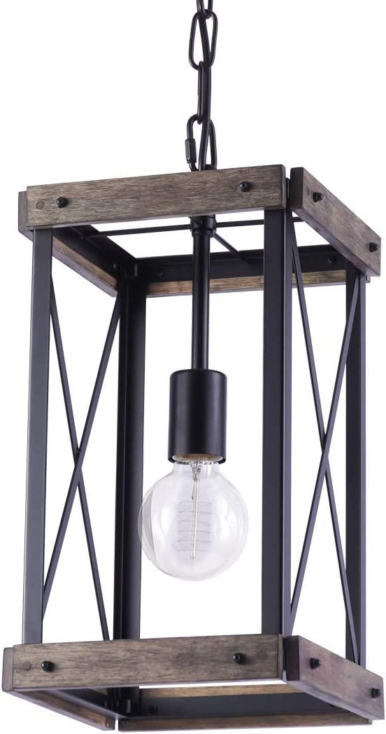 VILUXY Vintage Pendant Light, Classic Single Light Hanging Pendant Lighting, Black Metal Cage and Wood Shade, for Farmhouse, Entryway, Dining Room, Kitchen Island, Foyer