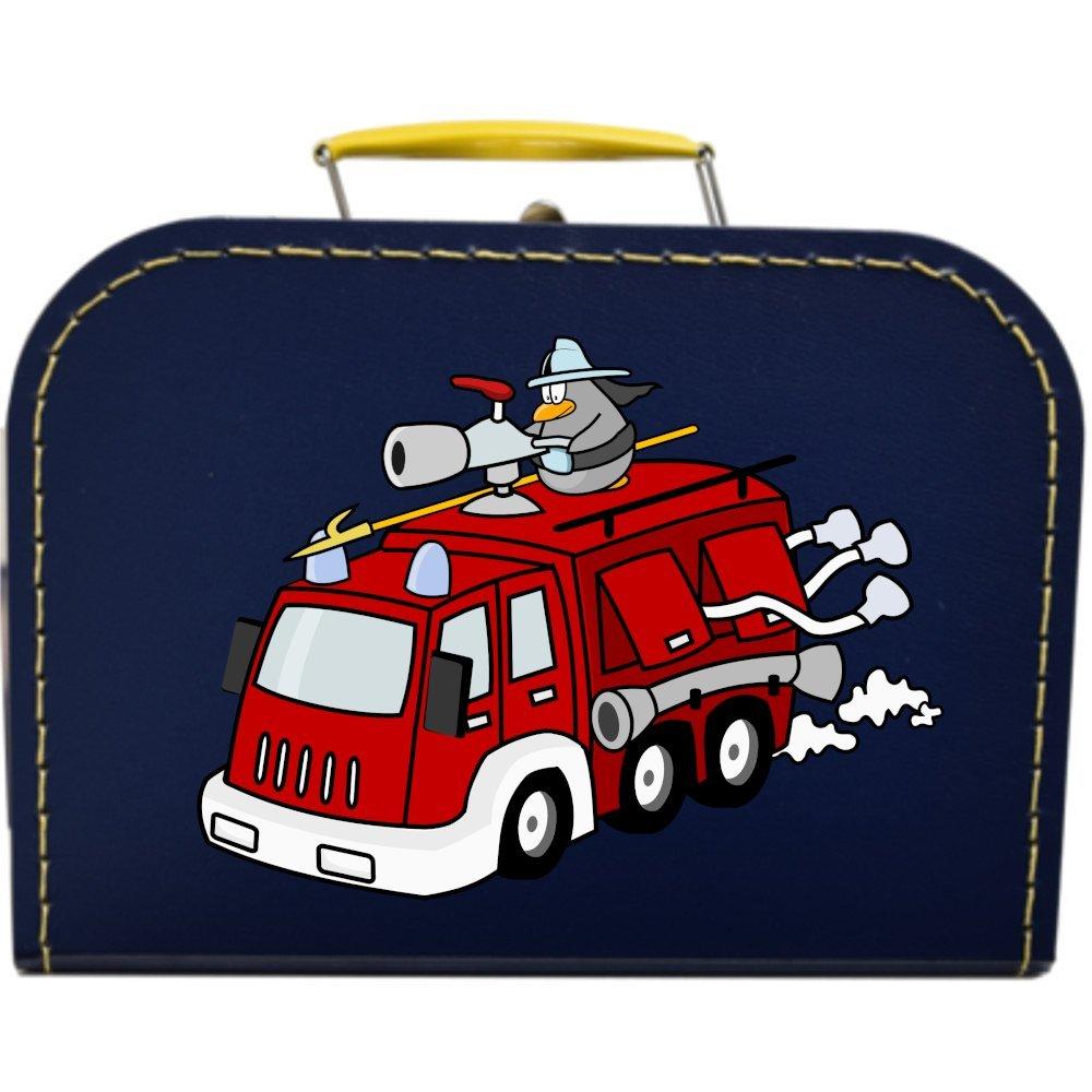 Pappkoffer mit Motiv Lustige Feuerwehr 30 cm (blau)