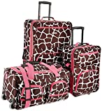 Rockland Luggage 3 Piece Printed Luggage Set, Pink Giraffe, Medium