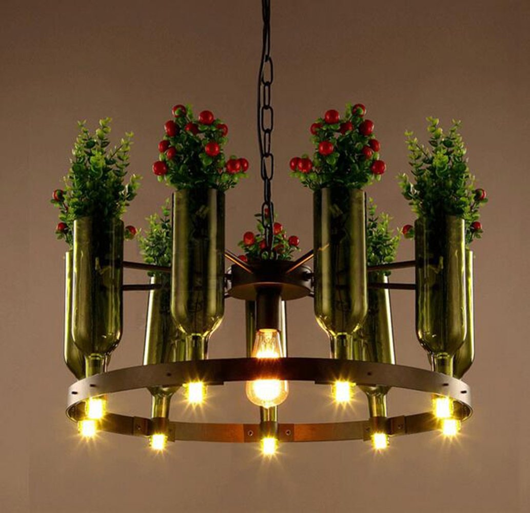 XUEXIN Modern decorative personality iron chandelier with plants and flowers for Cafe bar table lamps by XUEXIN