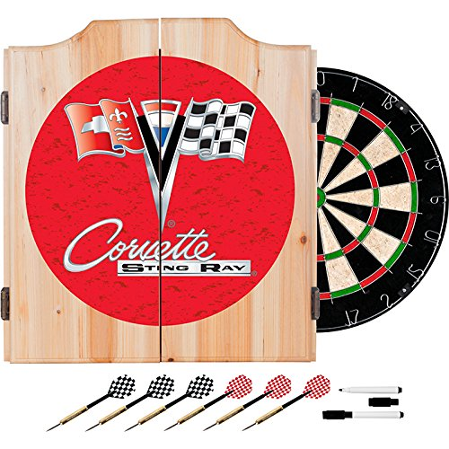 Corvette String Ray Red Design Deluxe Solid Wood Cabinet Complete Dart Set by TMG