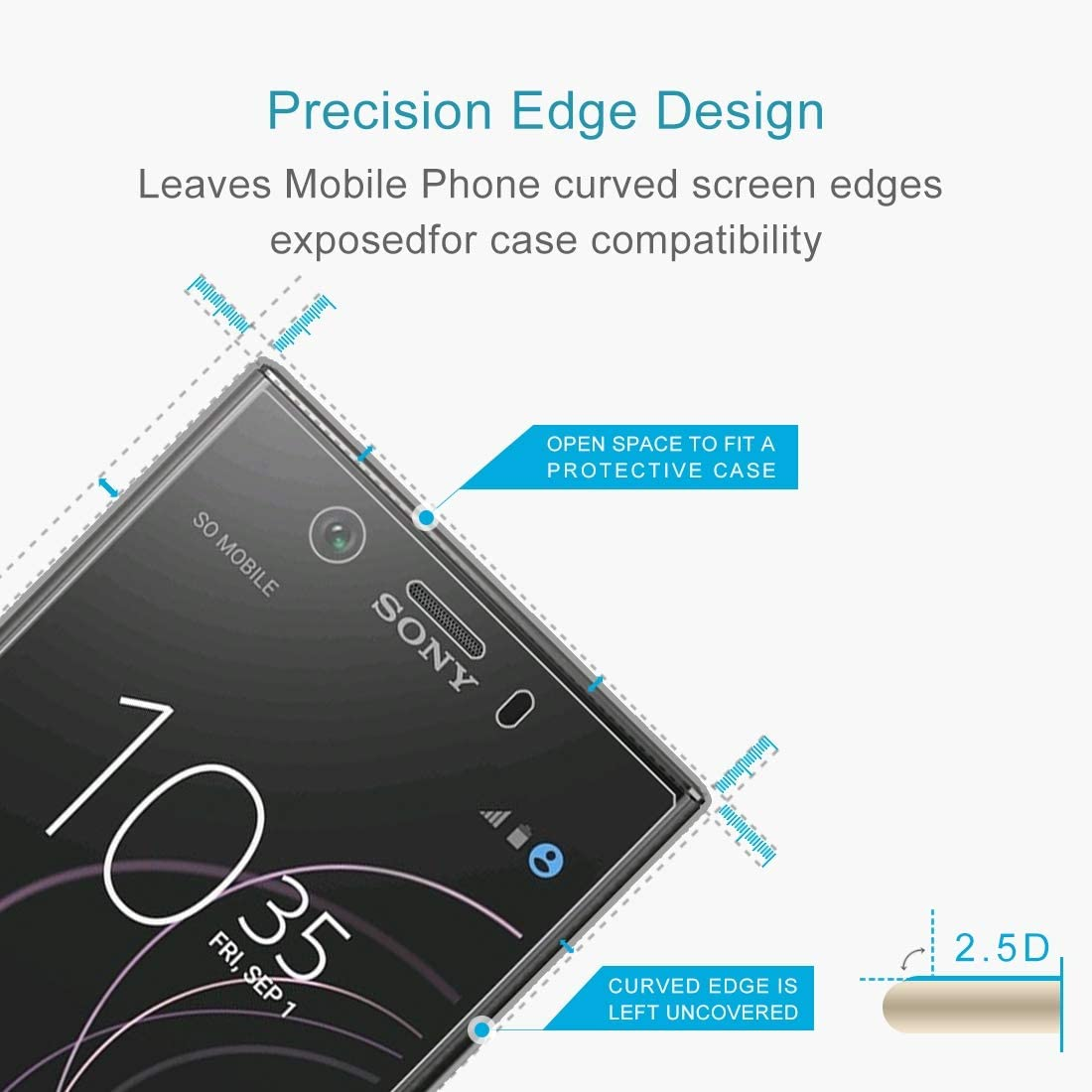 Wangl Mobile Phone Tempered Glass Film 50 PCS 0.26mm 9H 2.5D Tempered Glass Film for Sony Xperia XZ1 Compact Tempered Glass Film