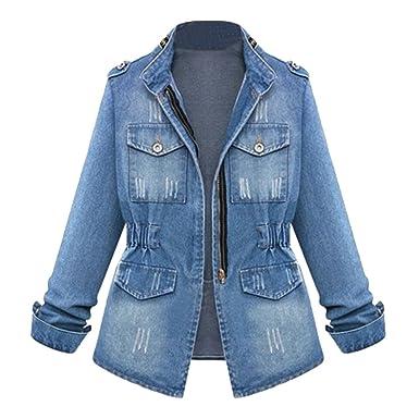 purchase cheap 2279b 308ad LINNUO Collo in Piedi Denim Giacca Donna Elegante Maniche Lunghe Giubbotto  di Jeans Tunica Cappotto con Cerniera
