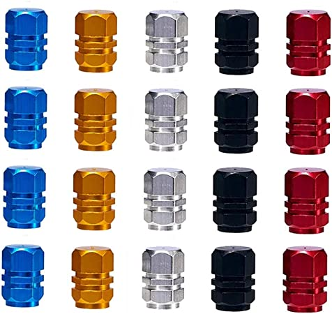 MUCHEN-SHOP Ventilkappen f/ür Auto,Reifenbeschriftung 20er Pack Aluminiumlegierung Kunststoff Staubschutzkappen Autoventilkappen f/ür MotorbikeTrucks Fahrrad Motorrad Gold Silber Rot Blau Schwarz