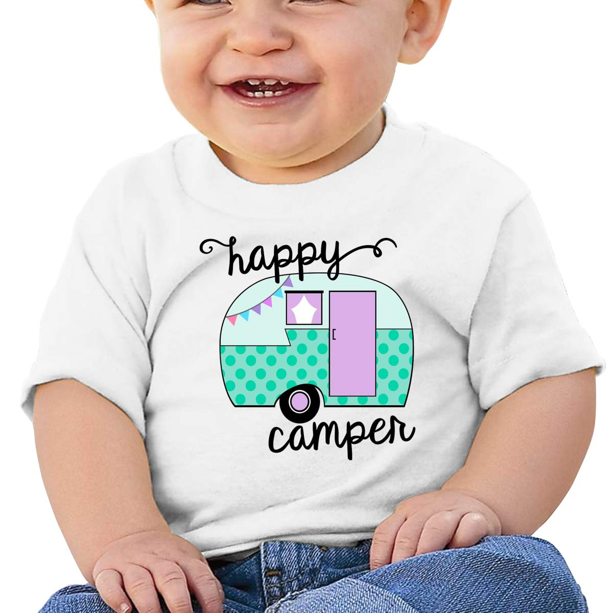 BuecoutesHappy Camper Toddler//Infant Short Sleeve Cotton T Shirts White 47