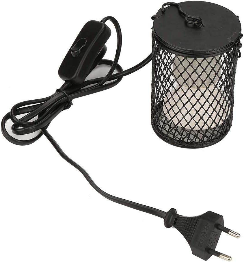 Lámpara de Calor de cerámica Lampara Equipo para Reptil Mascota/Serpiente con Jaula Anti escaldado(100w)(Negro)