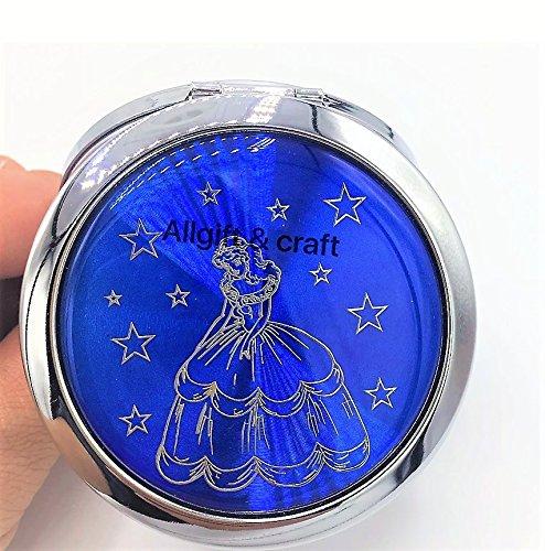 (12pcs Quinceanera Favor Sweet 16 Party favors Recuerdos de Quinceanera Double Side Compact Mirror Dark Blue)