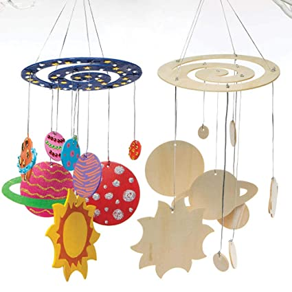 Baker Ross Solar System Wooden Mobile Kits (Pack of 2) for Kids Arts and  Crafts