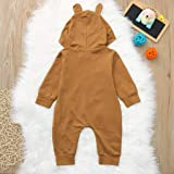 Qpika Cartoon Bear Print Hoodie Romper Jumpsuit