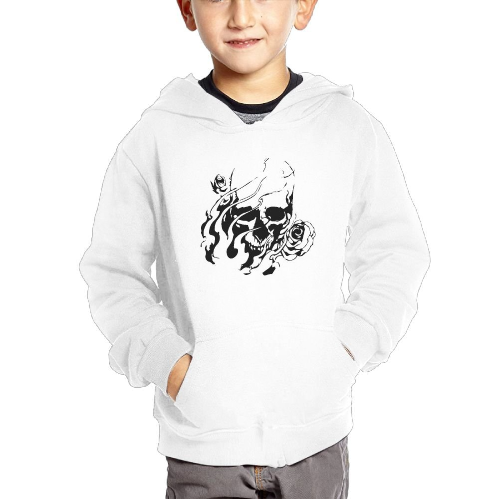 JasonMade Skull Flowers Kids Fashion Popular Hooded Hoodies With Pocket