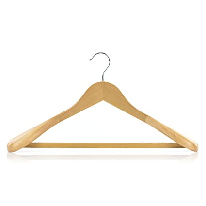 Hangerworld 3 Premium 45cm Natural Wooden Broad Ended Suit Coat Clothes Hangers With Non Slip Inlaid Trouser Bar by Hangerworld