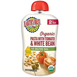 Earth's Best Organic Stage 2 Baby Food, Pasta with Tomato & White Bean with Olive Oil, 3.5 Oz Pouch (Pack of 12)