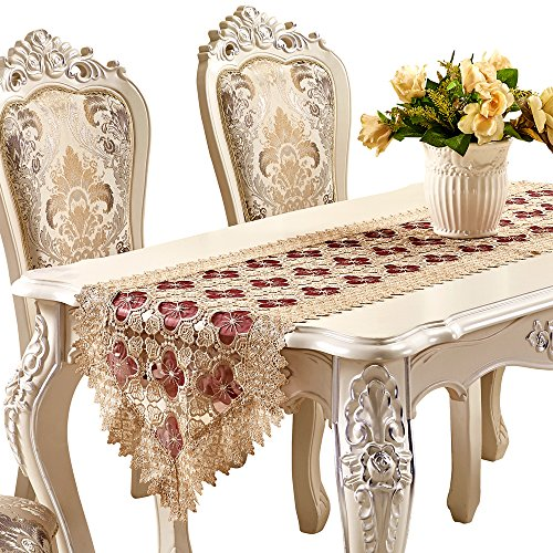 - Adasmile Lace Table Runner Handmade Embroidered Floral Dresser Scarves (78