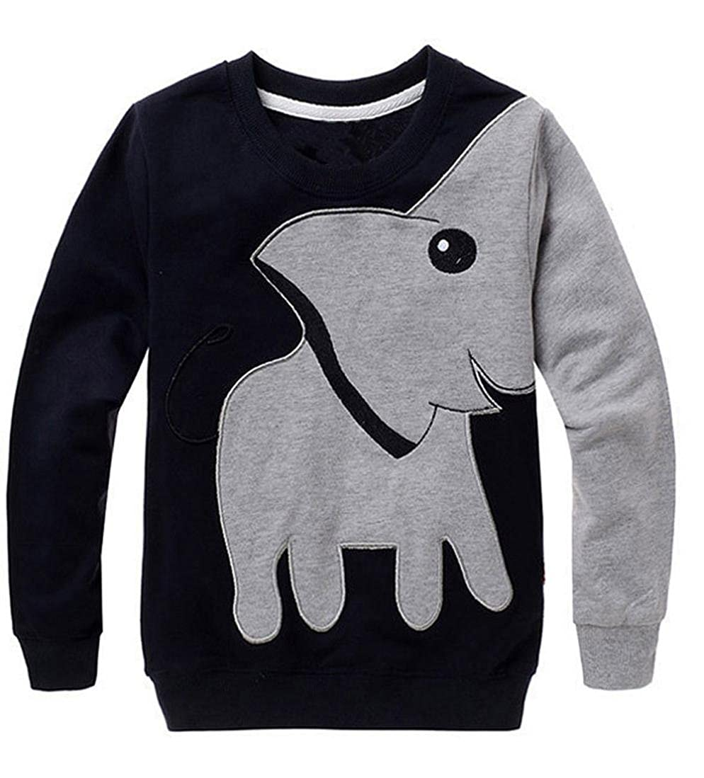 Clearance Toddler Baby Boy Elephant Print Sweatshirt Long Sleeve Kids Winter Warm Clothes Outfit