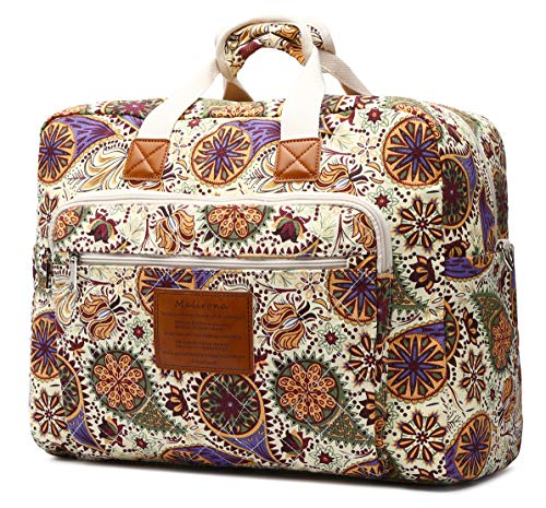 Malirona Women s Canvas Overnight Weekender Bag Carry On Travel Duffel Tote Bag Bohemian Flower Yellow Flower