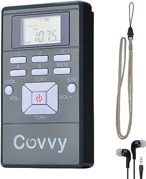 COVVY Mini Radio Receptor de FM Portátil Reloj Digital de Radio Estéreo con Auriculares para Conferencia Conferencia de Audición de Interpretación ...