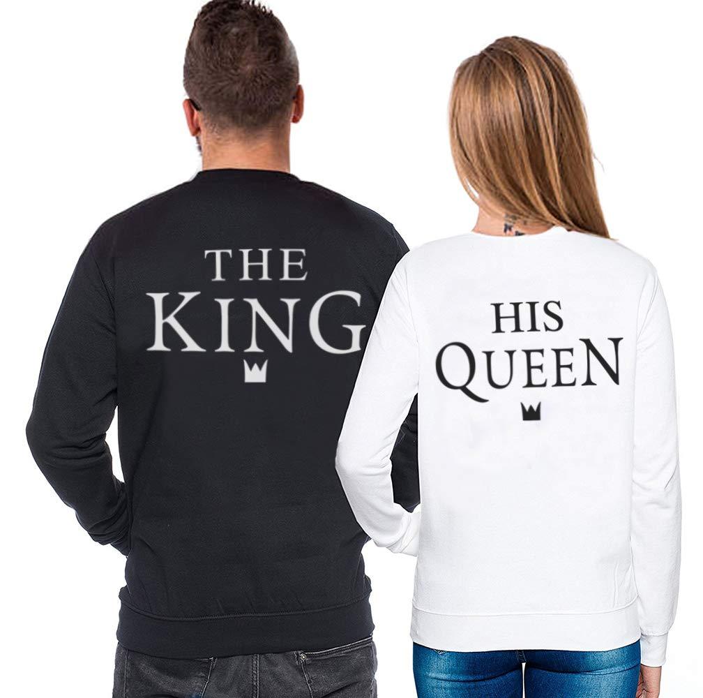 Pullover Coppia King Queen Felpa Stampa Girocollo Fidanzati Manica Lunga Sweatshirt Autunno Cotone San Valentino Bianco Nero Uomo Donna