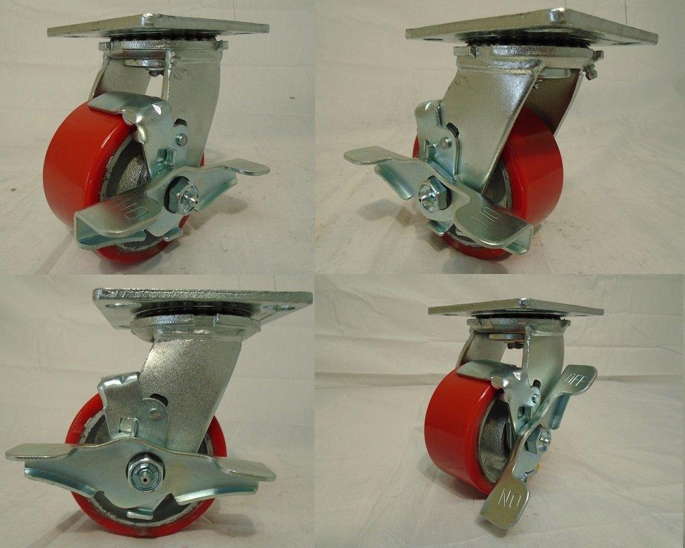 4'' X 2'' Swivel Casters Heavy Duty Polyurethane on Steel Hub Wheel with Brake 700lb Each (4) Tool Box