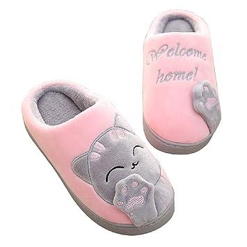 Fuxitoggo Zapatos Planos de Las Mujeres del Gato Zapatillas sin Respaldo de Dibujos Animados sin Respaldo: Amazon.es: Hogar