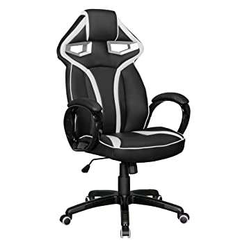 Home Collection24 Silla de Oficina Game Star Efecto Piel Negro/Blanco Gaming Chair - Silla de Escritorio giratoria Sport Racing Aspecto: Amazon.es: Hogar