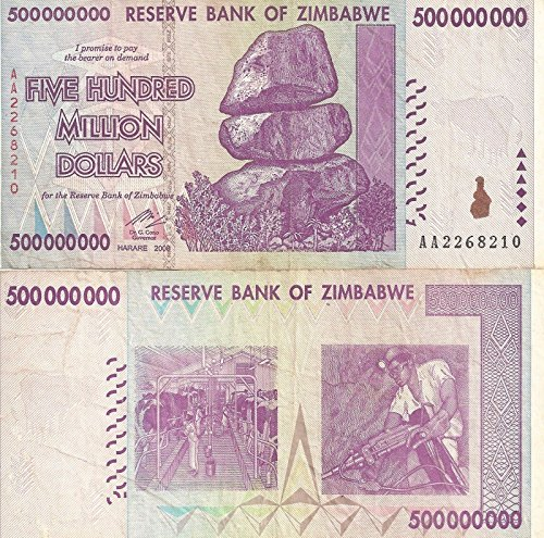 Nice1159 1 x 500 Million Dollars Zimbabwe, 2008 AA/AB Circulated, 50 &100 Trillion Series - genuine rare For collectors (Only 5 sets left)