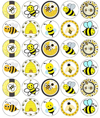 30 Bumble Bees Cupcake Toppers Edible Wafer Paper Fairy Cake Toppers Birthday Cakes