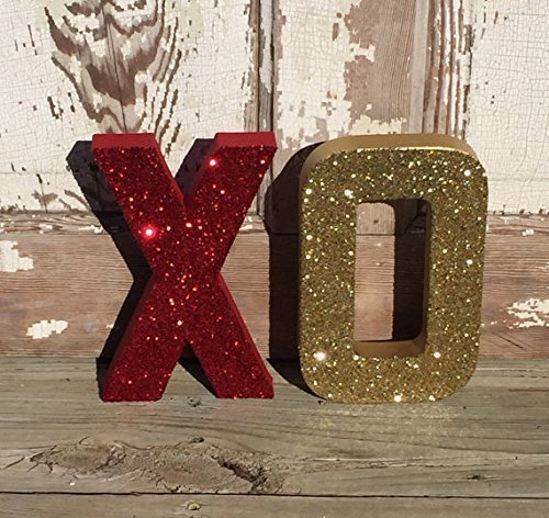 red and gold xo glitter stand up letters valentine decoration wedding decor wedding table