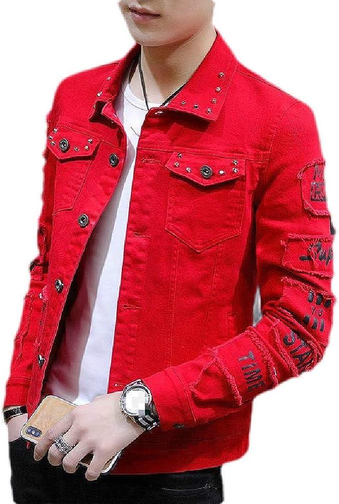 Wilngo Men's Long Sleeve Slim Retro Moto Biker Denim Jacket Jean Coat with Pockets