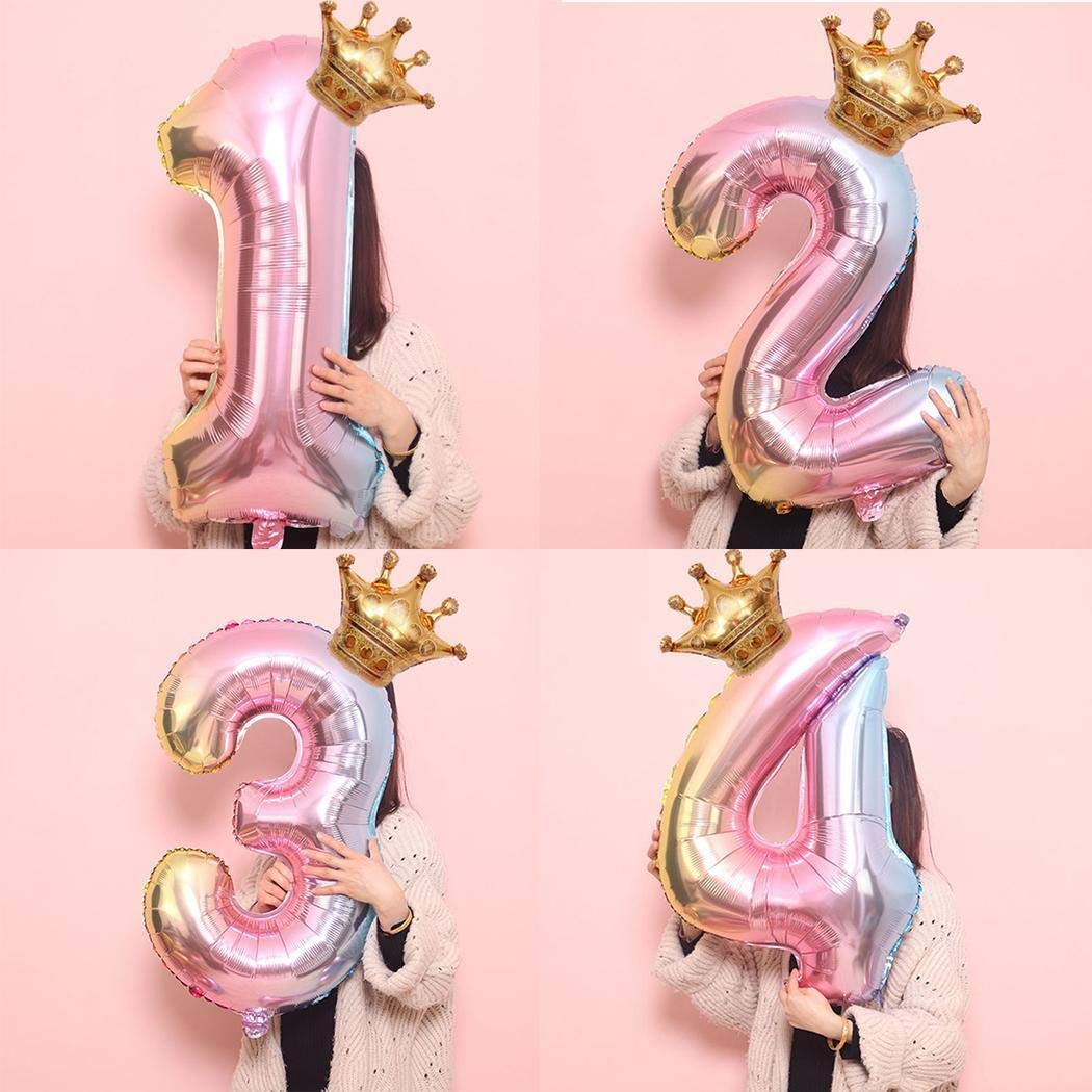 banlany 32 Inch Balloons Number Crown Shape Aluminum Balloon for Birthday Party Decoration
