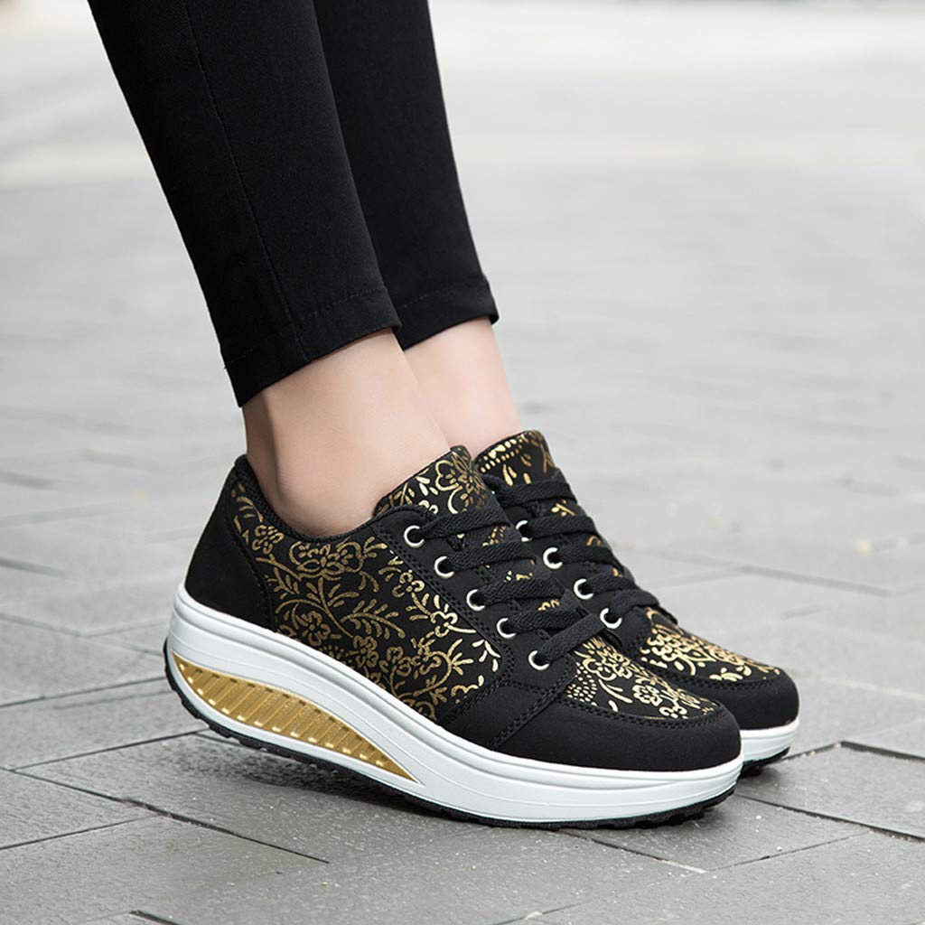 Womens Sport Shoes LuluZanm Fashion Ladies Wedges Sneakers Sequins Shake Fashion Girls Shoes Cinsanong Boots Clearnce Sale