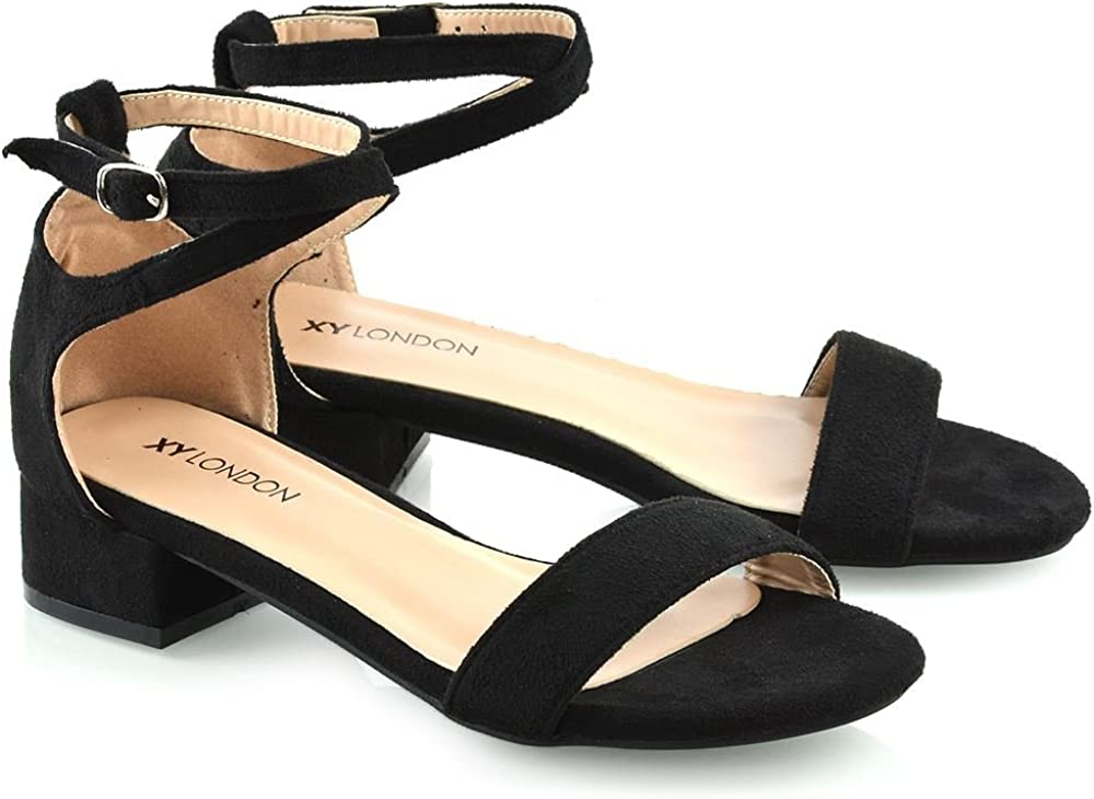 Womens Strappy Low Heel Sandals Ladies Ankle Strap Open Toe Shoes Size 3-8